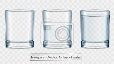 Naklejka Transparent vector glass of water on light background