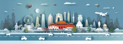 Naklejka Travel China landmarks of Beijing, Shanghai, Taiwan, Xian, Macao, Taipei