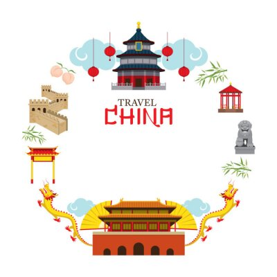 Naklejka Travel China ramki, miejsca, atrakcji, Tradycyjna kultura