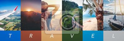 Naklejka Travel concept background. Summer concept.  Header format with copyspace, vertical stories