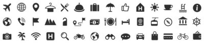 Naklejka Travel icons set. Tourism simple icon collection. Vector