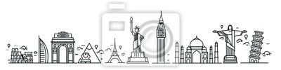 Naklejka Travel the world monument concept - Vector Flat Line Art Design.