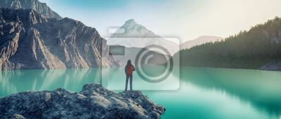 Naklejka traveler lake mountain. This is 3d render illustration