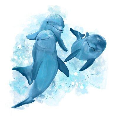 Naklejka Tre delfini nuotano nel mare. Dipinto.