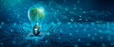 Naklejka Tree with soil growing on  Light bulb. Digital Convergence and and Technology Convergence. Blue light and network background. Green Computing, Green Technology, Green IT, csr, and IT ethics Concept.