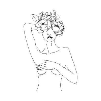 Naklejka Trendy abstract one line woman body with flowers and leaves. Girl covering her nude breast. Continuous line print for textile, poster, card, t-shirt etc. Vector fashion illustration.