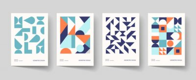 Naklejka Trendy covers design. Minimal geometric shapes compositions. Applicable for brochures, posters, covers and banners.