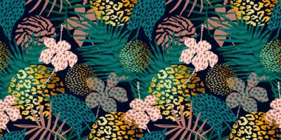 Naklejka Trendy seamless exotic pattern with palm, animal prints and hand drawn textures.