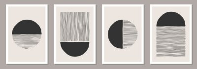 Naklejka Trendy set of abstract creative minimalist artistic hand painted compositions