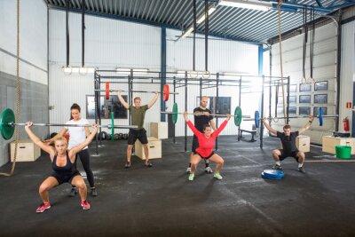 Naklejka Trenerzy Wspomaganie sportowców w korzystaniu z sztanga