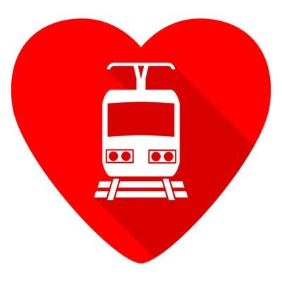 Naklejka trenować czerwone serce Valentine płaską ikonę