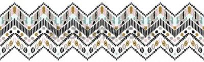 Naklejka Tribal wektor ornament. Jednolity wzór afrykański. Dywan etniczny z szewronami. Styl aztecki. Geometryczna mozaika na płytce, majolika. Starożytne wnętrze. Nowoczesny dywan. Geometryczny nadruk na tka