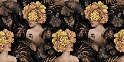 Naklejka Tropical exotic golden seamless pattern. Beautiful women, hibiscus flowers bouquets, plumeria, monstera, palm, banana leaves, butterflies, jungle. Hand-drawn vintage 3D illustration. Luxury wallpaper