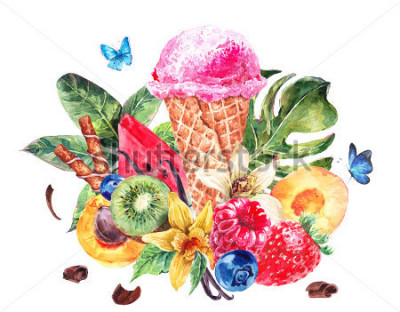 Naklejka Tropical hand painting summer watercolor natural eco food background with fruits, soft Italian fruit ice cream, summer nature exotic sale card