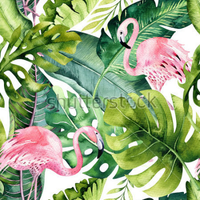 Naklejka Tropical isolated seamless pattern with flamingo. Watercolor tropic drawing, rose bird and greenery palm tree, tropic green texture, exotic flower. Aloha collection