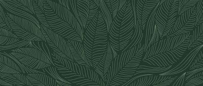 Naklejka Tropical leaf Wallpaper, Luxury nature leaves pattern design, Golden banana leaf line arts, Hand drawn outline design for fabric , print, cover, banner and invitation, Vector illustration.