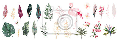Naklejka Tropical vector leaf with gold, flowers and flamingo. set  floral illustration. exotic Leaves isolated on white background. collection with flowers for invitation