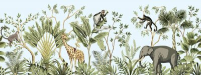 Naklejka Tropical vintage botanical landscape, palm tree, banana tree, plant, palm leaves, giraffe, monkey, elephant floral seamless border blue background. Jungle animal wallpaper.