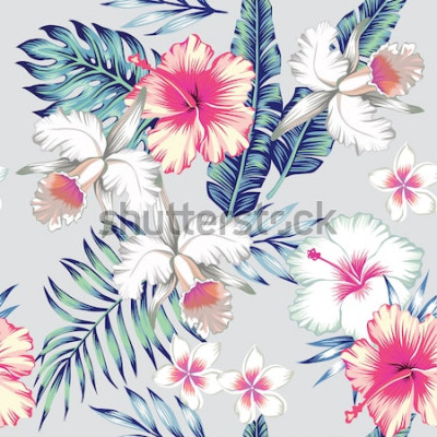 Naklejka Tropikalne kwiaty hibiskusa, orchidea, plumeria. W modnym niebieskim tle z zielonymi liśćmi palmy bananowej. Kwiatowy bezszwowe wektor wzór. Ręcznie rysowane moda drukuj ekskluzywna letnia roślina