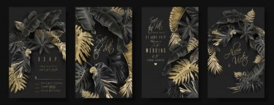 Naklejka Tropikalne liście czarno-złote kartki ślubne