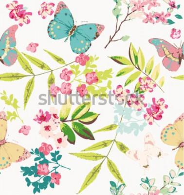 Naklejka tropikalny kwiat z tłem wzór motyla