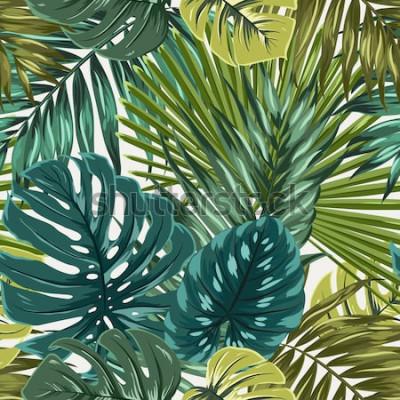 Naklejka Tropikalny tropikalny las palmowy monstera pozostawia kamuflaż wzór tekstury. Jasny zielony turkusowy niebieski na beżowym tle. Wakacje wakacje rajska wyspa. Botaniczna wektorowa projekt ilustracja.
