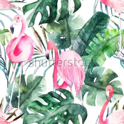 Naklejka Tropikalny wzór z flamingo i liści. Letni wydruk w akwarela. Egzotyczna ręka rysująca ilustracja