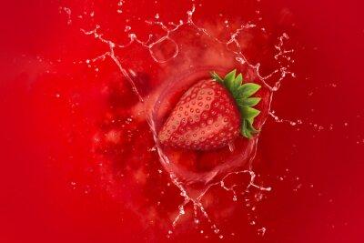 Naklejka truskawki powitalny w czerwonej cieczy soku