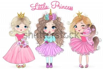 Naklejka Trzy ręcznie rysowane piękne słodkie dziewczynki księżniczki z jednorożcem. Ilustracji wektorowych.