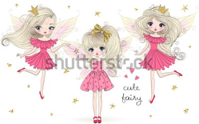 Naklejka Trzy ręcznie rysowane piękne słodkie wróżki dziewczynki ze skrzydłami motyla. Ilustracji wektorowych.