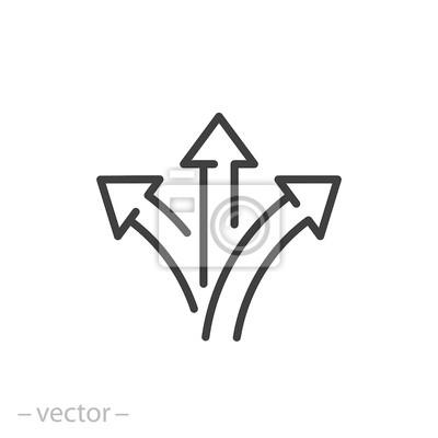 Naklejka trzy strzały, znak drogowy, droga wektor ikona