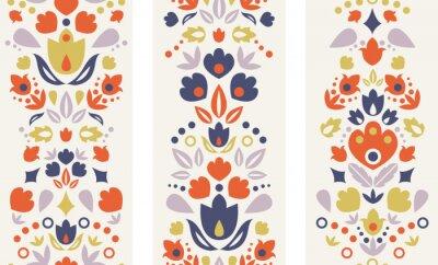 Naklejka Trzy wektorowe ozdobnych tulipany ludowe pionowe bez szwu desenie
