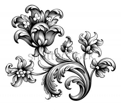 Naklejka Tulipan piwonia kwiat vintage Barokowa wiktoriańska rama granica kwiatowy ornament liść przewiń grawerowany retro wzór dekoracyjny projekt tatuaż czarno-biały filigran kaligraficzny wektor