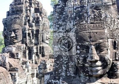 Naklejka Twarz Bayon w Angkor, Siem Reap, Kambodża.