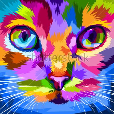 Naklejka twarz kota zbliżona do kolorowych oczu