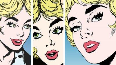 Naklejka Twarz młodej kobiety z pięknymi oczami