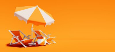 Naklejka Two beach chairs with parasol on lush orange summer background 3D Rendering