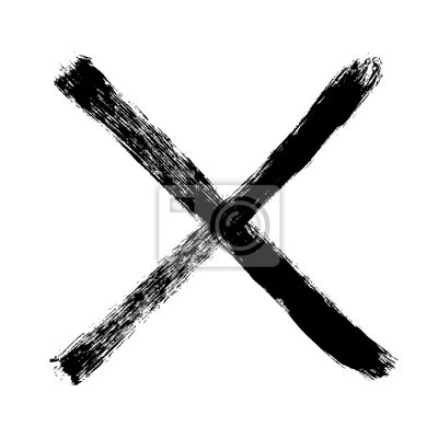 Naklejka Two crossed vector brush strokes. Rejected sign in grunge style. X marks
