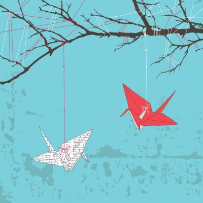 Naklejka Two Paper Cranes