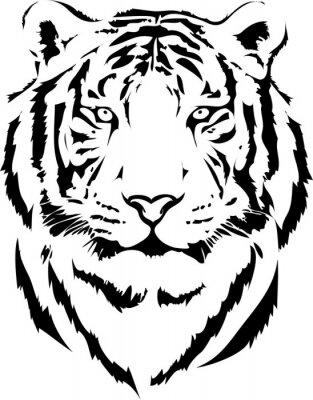 Naklejka Tygrys głowy w czarnym interpretacji 2