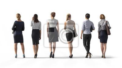 Naklejka Tylny widok trwanie biznesowa kobieta. Ilustracja na białym tle, 3d rendering odizolowywający.