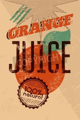 Naklejka Typograficzny retro grunge plaster pomarańczowy plakat z pieczątką grunge dla 100 naturalnego produktu. Ilustracji wektorowych. Eps 10.