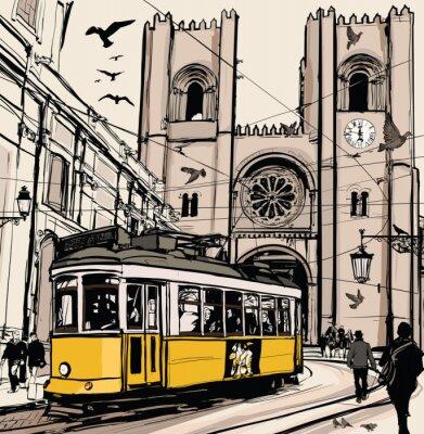 Naklejka Typowy tramwaj w Lizbonie, w pobliżu katedry Se