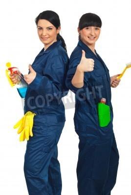 Naklejka Udane zespół czyszczenia pracowników kobiety stojące z powrotem do tyłu trzymając produktów i dając kciuki do góry na białym tle