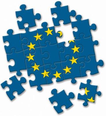 Naklejka UE Unia Europejska flagi puzzle na białym tle
