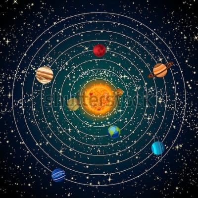 Naklejka Układ słoneczny ze słońcem, planetami i gwiazdami. Ilustracji wektorowych.