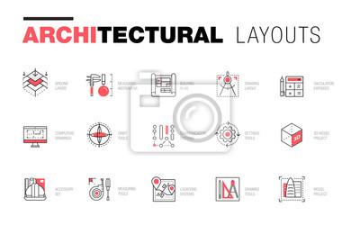 Naklejka Układy architektoniczne w Trendy wielobocznej kompozycji linii. Cienkie ikony budynków. Profesjonalne rysunki projektów. Niesamowity styl geometrii konturowej z piktogramem przyszłości dla twojego pro