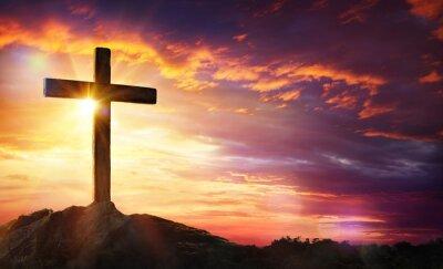 Naklejka Ukrzyżowanie Jezusa Chrystusa - Krzyż na zachodzie słońca