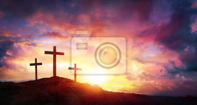 Naklejka Ukrzyżowanie Jezusa Chrystusa w Sunrise - Three Crosses On Hill