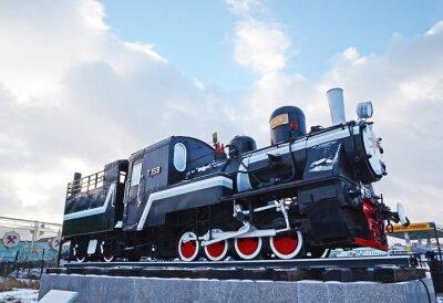 Naklejka Ułan Bator, Mongolia-Dec, 02 2015: Parowóz serii T-159. Muzeum sprzętu kolejowego w Ułan Bator. Mongolia